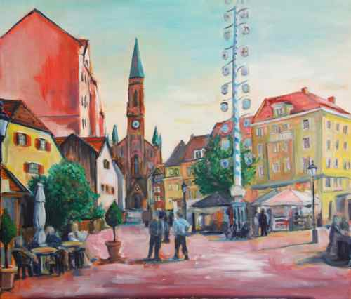 Munich Wienerplatz original oil painting