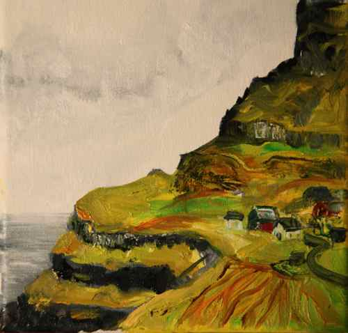 Faroe Island village: oil painting