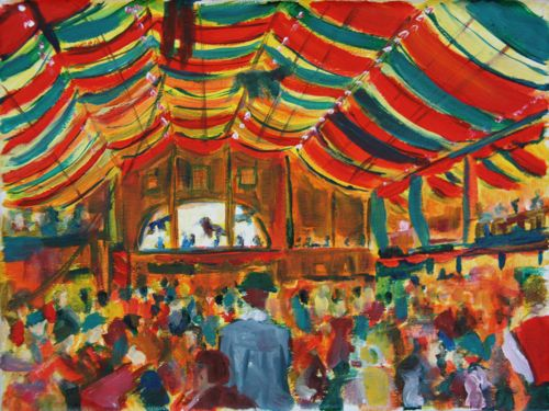 original oil painting of the Hippodrom tent at Oktoberfest in Munich, Germany