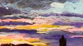 Sunset study, 20x20cm, oil on canvas.