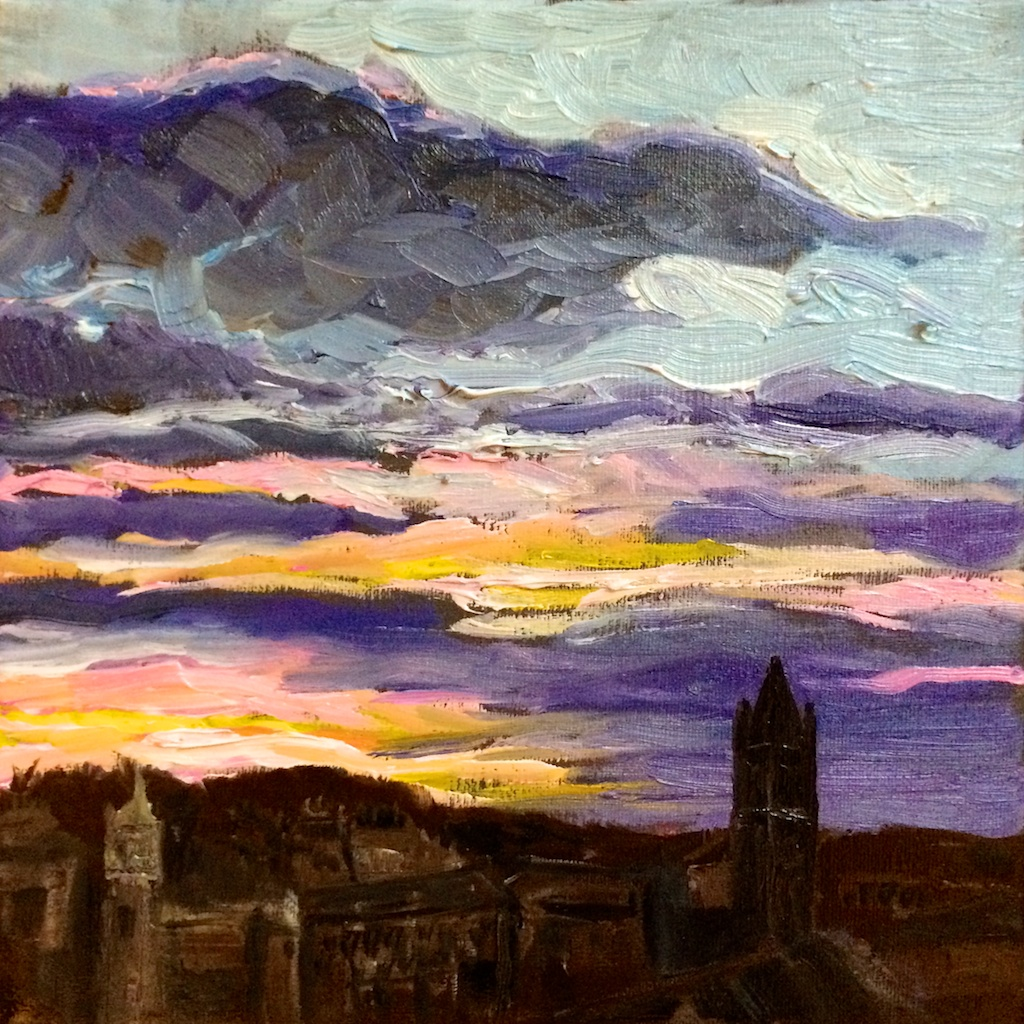 Sunset study, 20x20cm, oil on canvas.