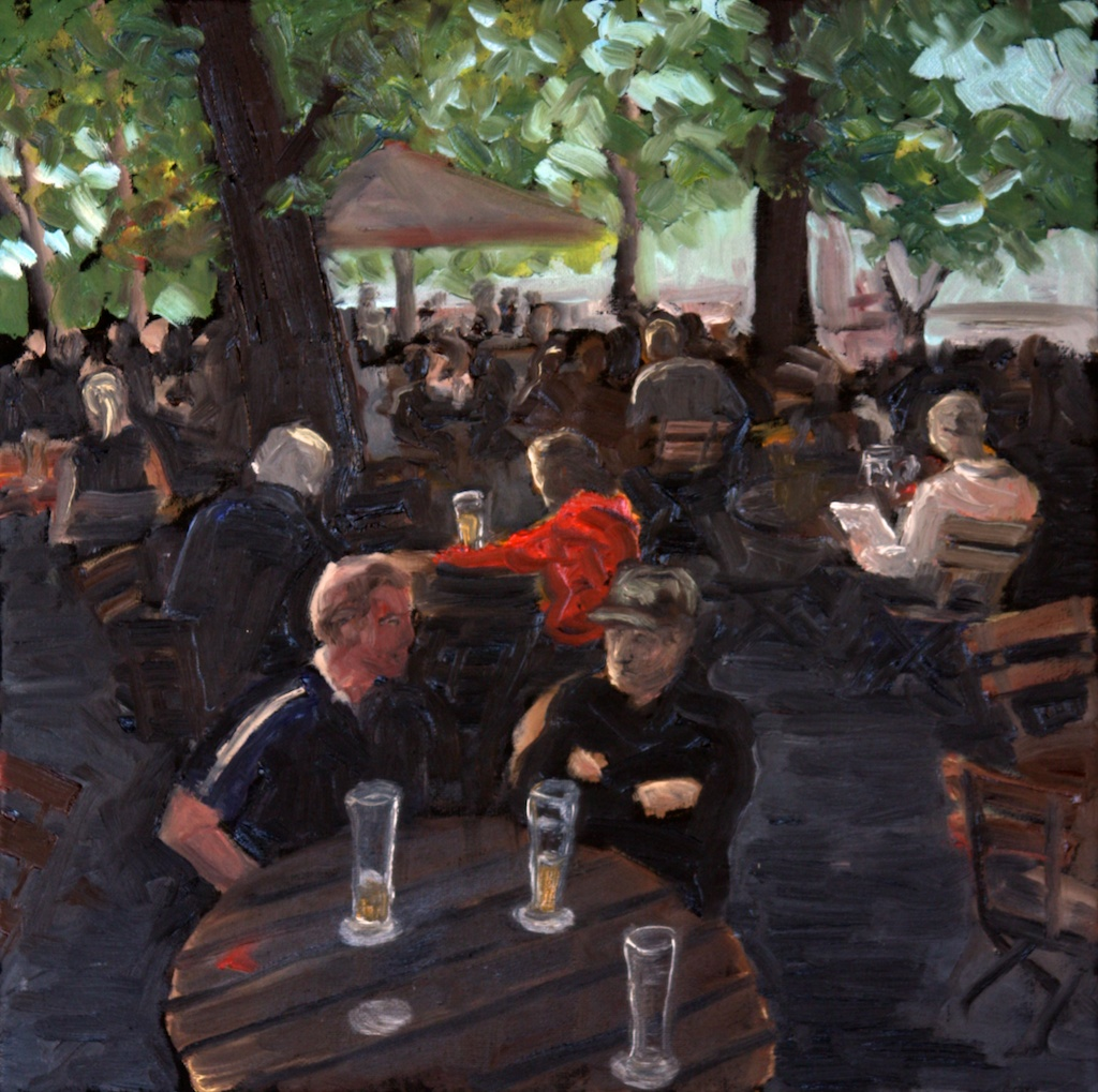 Original oil painting After Work in the Beer Garden