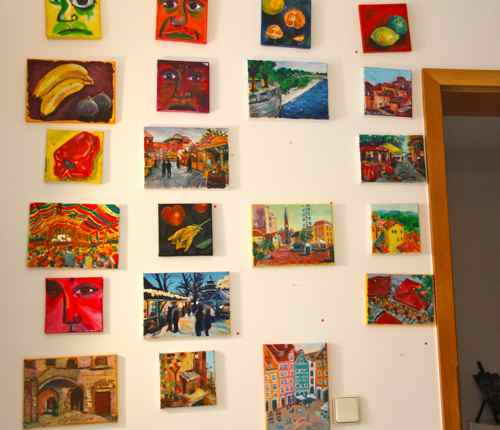 Wall of daily paintings after my open studio