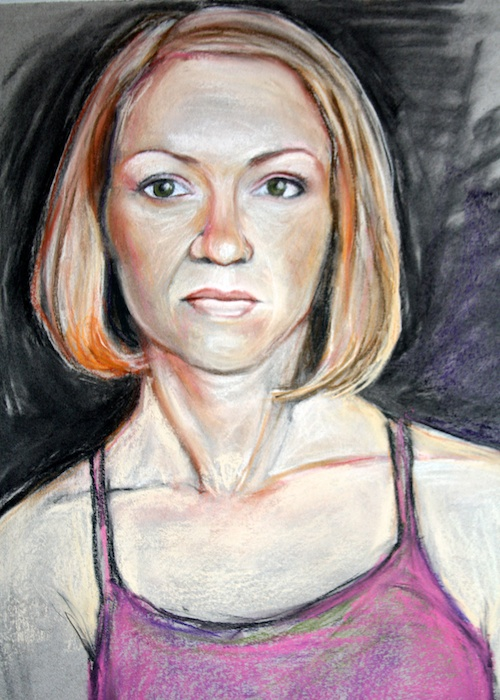 Portrait study: Annie, pastel and charcoal on paper