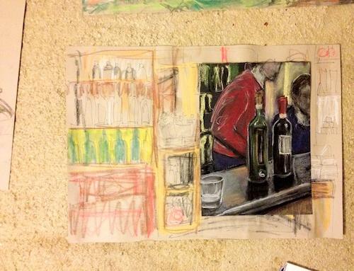 wine bottle drawings