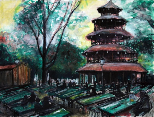 Biergarten at the Chinese Tower mixed media artwork