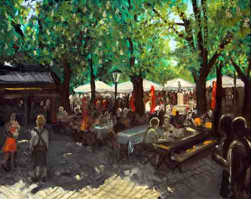 Original oil painting Viktualienmarkt beer garden