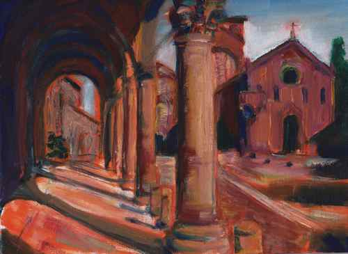 Oil painting of the square in front of Santo Stefano church in Bologna, Italy