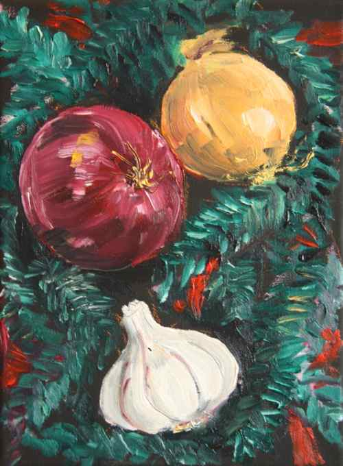 Christmas painting onions and garlic