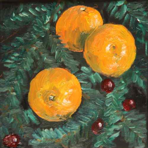 Christmas painting clementines and cranberries