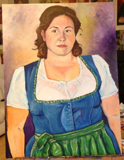 Portrait of Sarah in a dirndl, original oil painting in progress