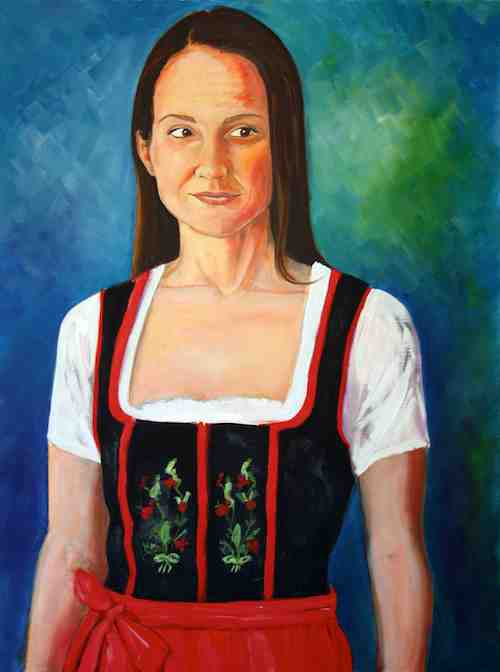 Emily in her Dirndl, original oil painting