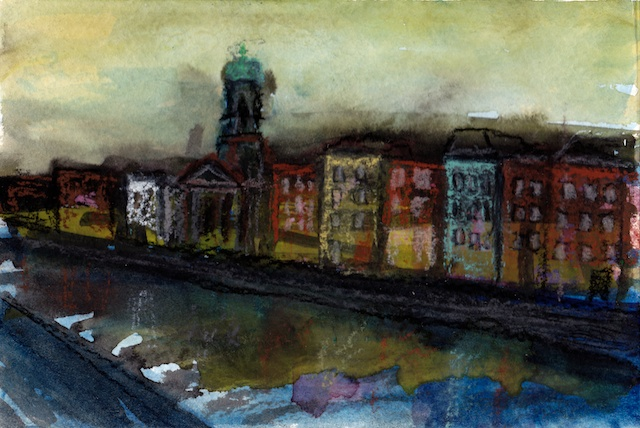Dublin mixed media postcard