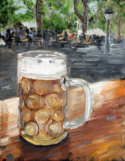 Maß of beer in the biergarten original oil painting