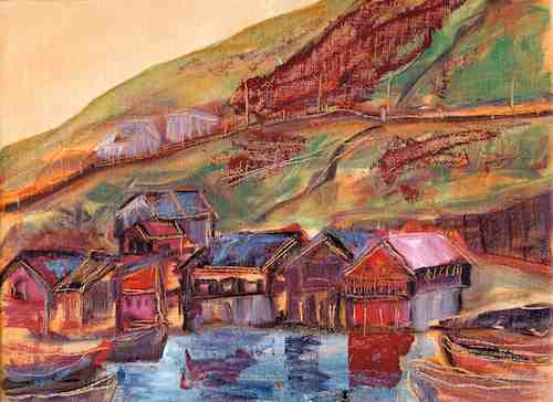 Oil painting: Colorful Faroe Islands village