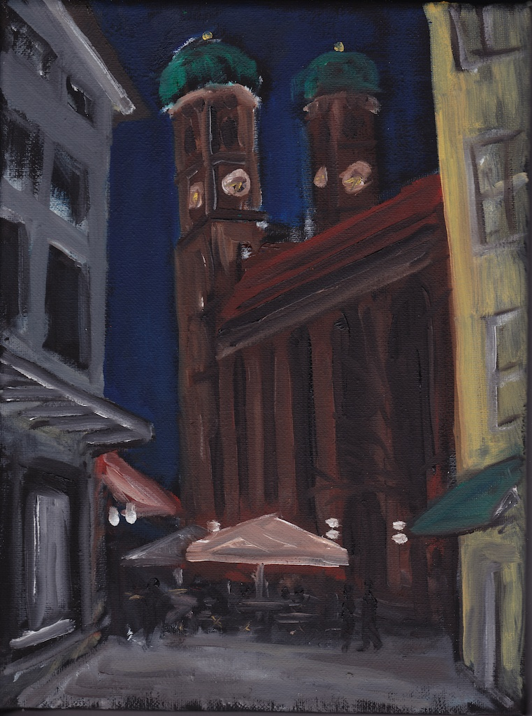 Frauenkirche at Night oil painting study