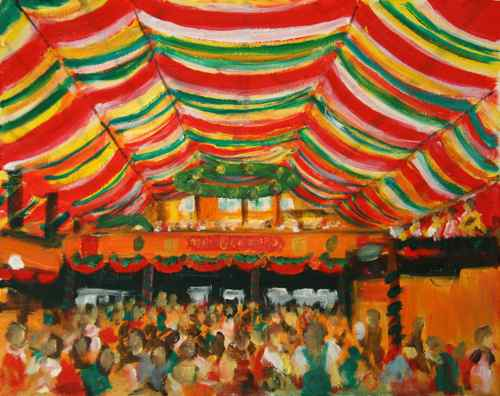 Original Oil Painting Hippodrom Oktoberfest, Munich