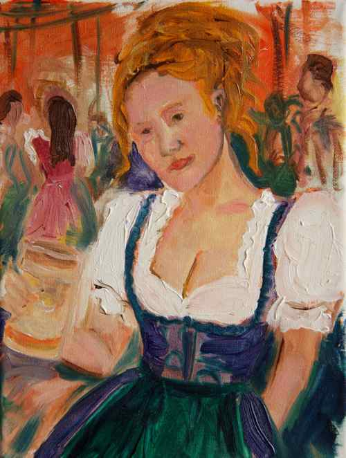 original oil painting: Oktoberfest dirndl