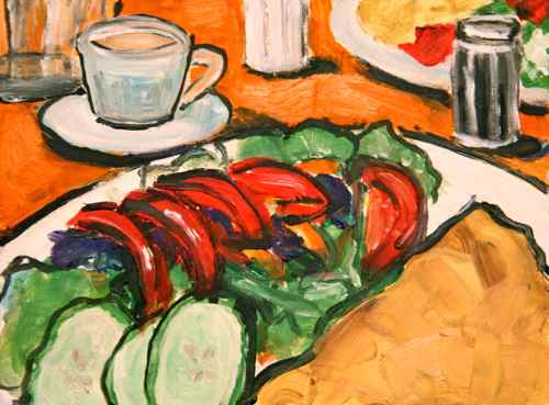oil painting crepes and salad