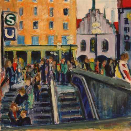 oil painting: Marienplatz, entrance to S/U