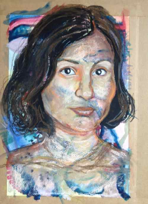 Mixed Media portrait of Anita - in progress