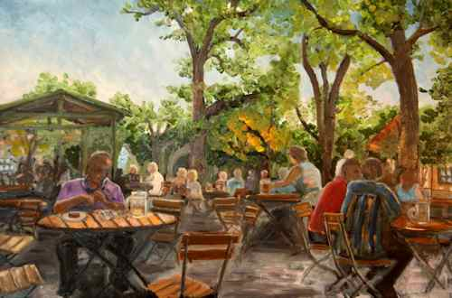 Original Oil Painting: a sunny day at a Munich Biergarten
