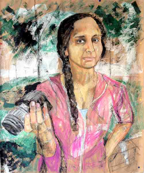Woman with DSLR, mixed media on paper