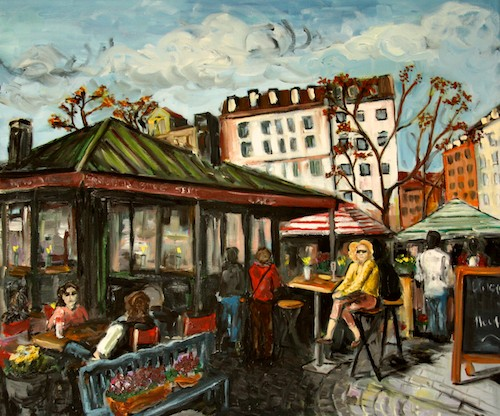 Original Oil Painting: Nymphenburg Sekt Cafe, Viktualienmarkt, Munich, Germany
