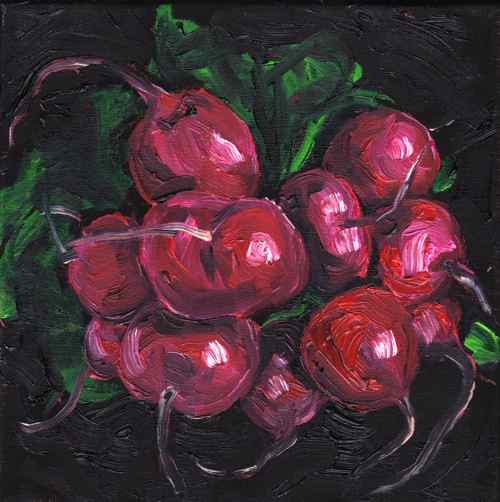 Radishes, original oil painting