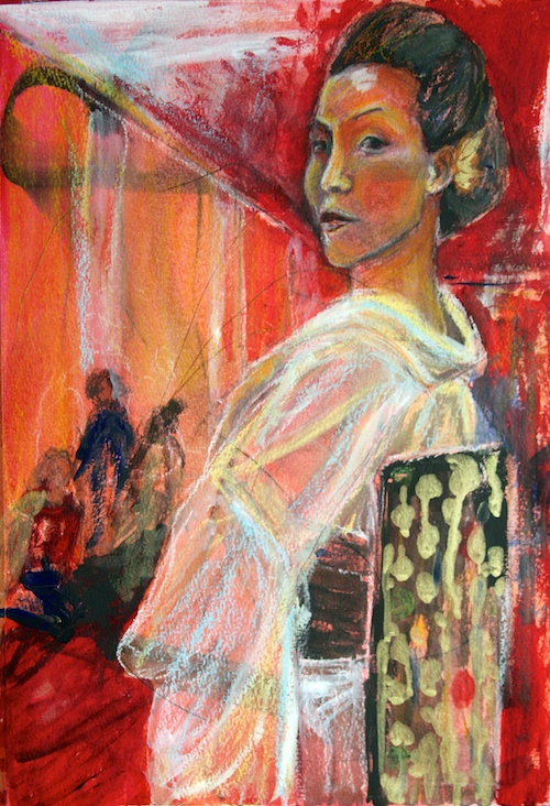 The Dance Recital, London, mixed media on paper