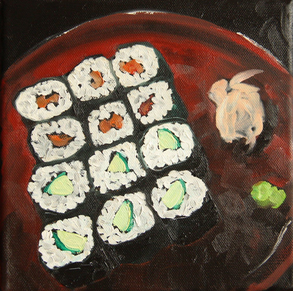 Sushi Rolls on a Red Plate original oil painting