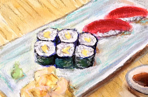 Sushi Plate mixed-media painting