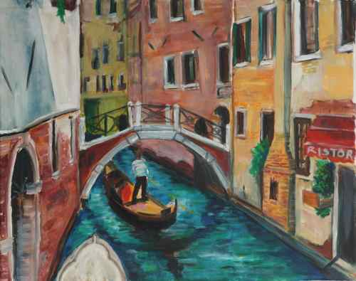 Venice gonodoliere, OIl on Canvas, ©2011 Julie Galante