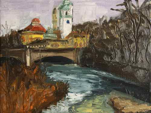Volksbad Munich original painting