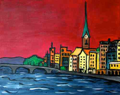 Zurich Red Sky original acrylic painting