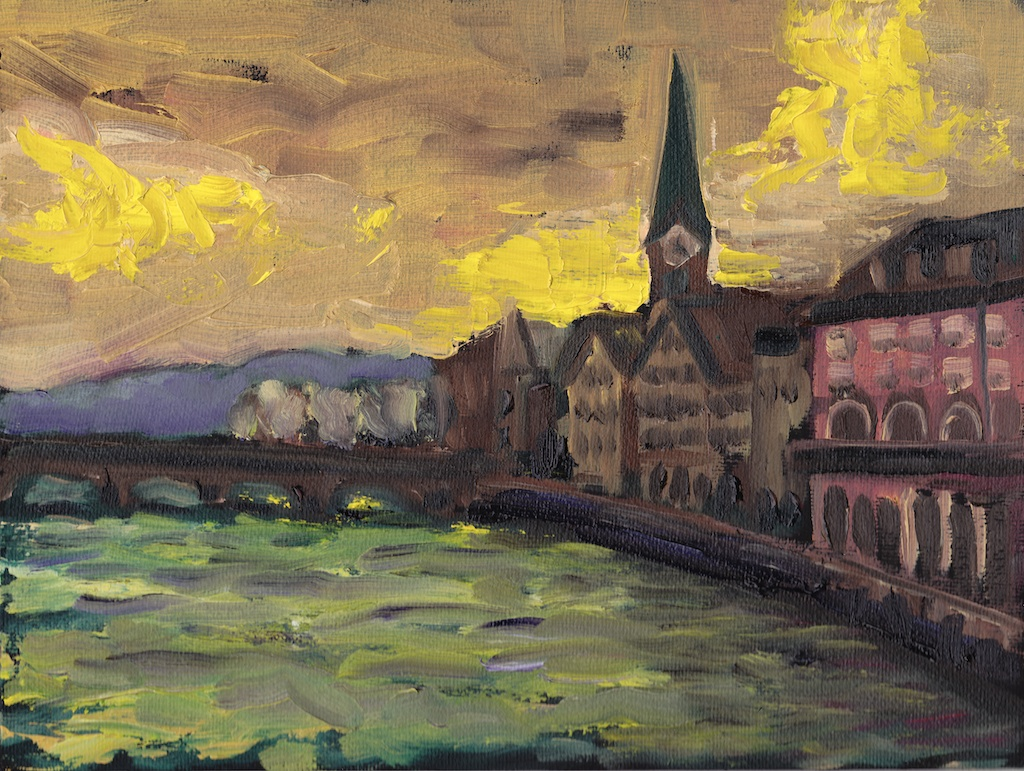 Zurich yellow sky original oil painting