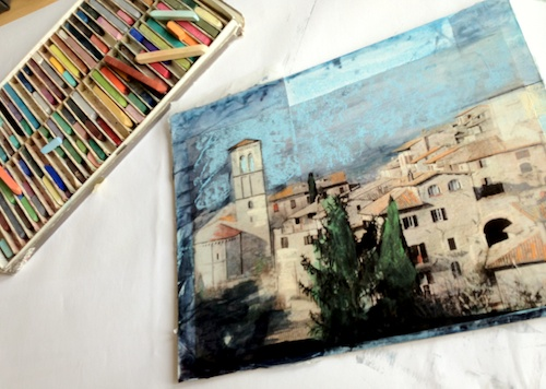 mixed media assisi in progress