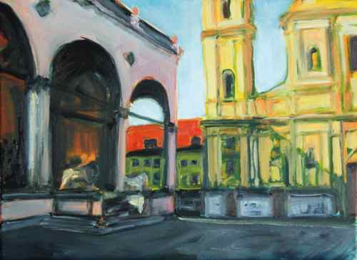 Painting: a sunny morning in Odeonsplatz
