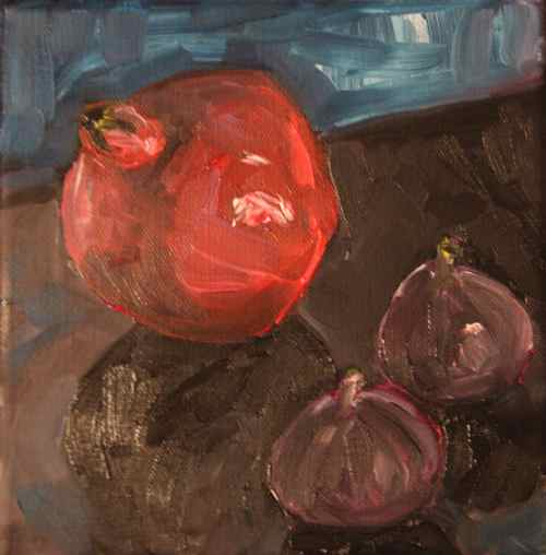 Oil painting: Pomegranate and figs