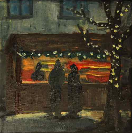 Painting: Evening at the Christmas Market