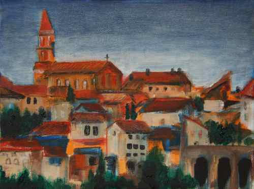 small oil painting of Albi, France