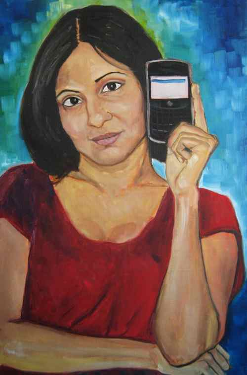 original oil painting: Woman with BlackBerry Bold 9000