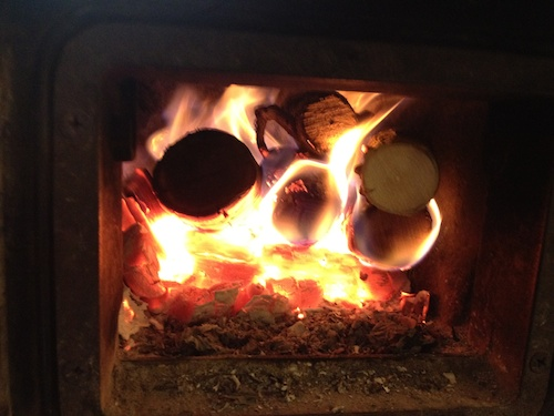 a roaring fire in the oven in the studio