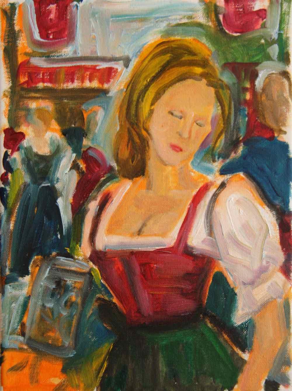 Oktoberfest Dirndl Study - original oil painting