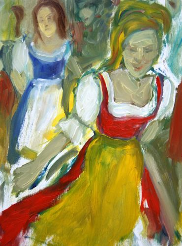 Painting: Girls in dirndls #2