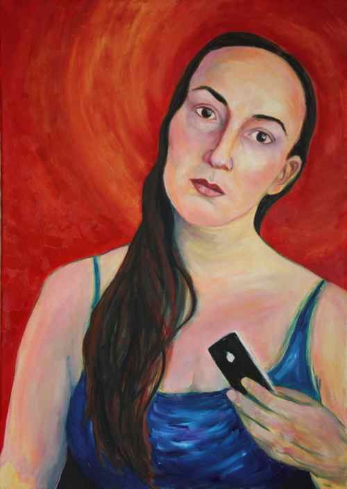 original oil painting: self portrait with iphone 4