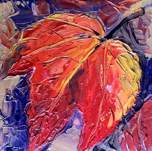 autumn leaf painting with palette knife