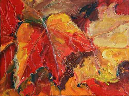 Autumn leaves original oil painting