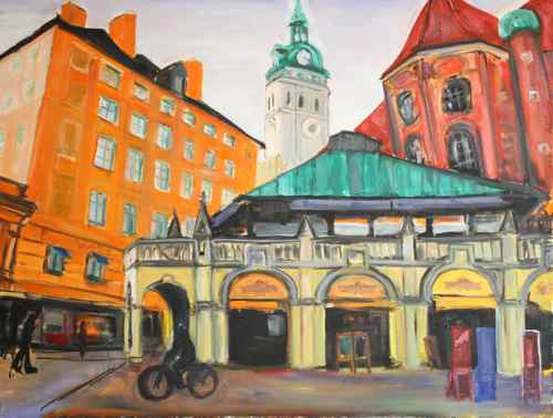 oil painting in progress - central Munich scene