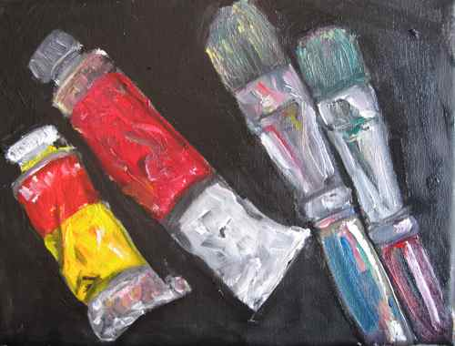 Original oil painting: Two paint tubes, two brushes